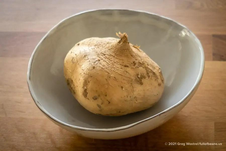 a jicama in a large bowl