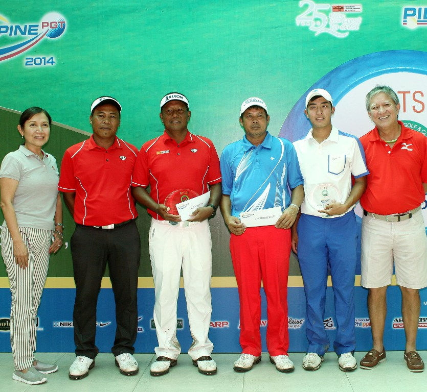 Tony Lascuña (third from left) holds his trophy and prize as he poses with (from left) ICTSI Public Relations head Narlene Soriano, joint runner-up Elmer Salvador, fourth placer Arnold Villacencio, top amateur Cebuano Lloyd Go and Marapara golf director Edifanio Torre after winning the P1 million ICTSI Negros Occidental Classic at the NOGCC course in Bacolod last Saturday.