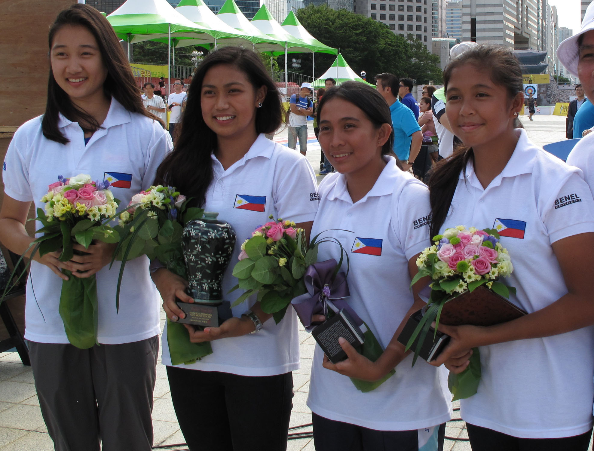 Members of the Philippine junior archery team (from left) Bianca Gotuaco, Kareel Hongitan, Crizabelle Merto and Mary Queen Ybañez pose after bagging the team bronze in the Seoul International Archery Festa last week.