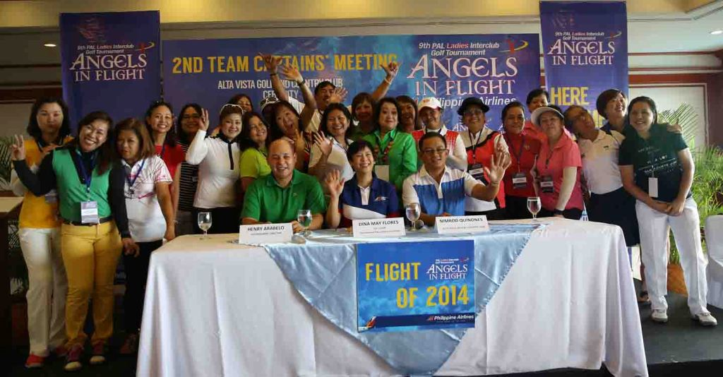 The 2nd Team Captains Meeting of the 9th PAL Ladies Interclub – with this year's theme 'Angels in Flight' – gathered 25 team representatives, including one from Australia. The ladies edition of the country's longest running team golf championship will be contested October 23-26 at Alta Vista Golf & Country Club in Cebu City. Photo shows the lady team captains together with (seated from left) Henry Arabelo, tournament director; Dina May Flores, Interclub co-chairperson & PAL vice president; and Nimrod Quinones, Alta Vista general manager.