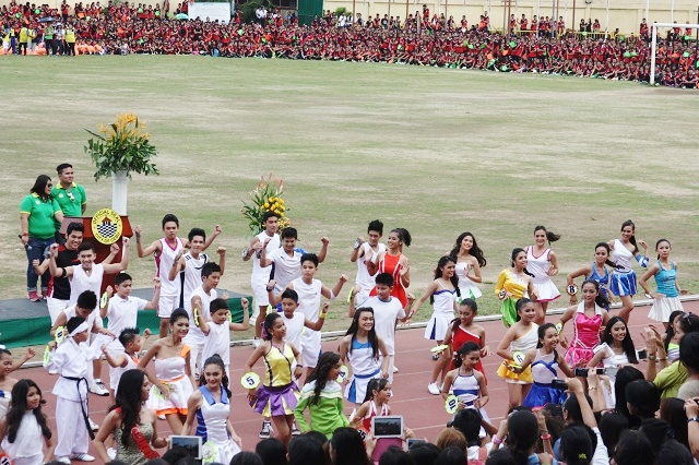 Elementary and secondary candidates of the Mr. & Ms. Cebu City Olympics in their production number.