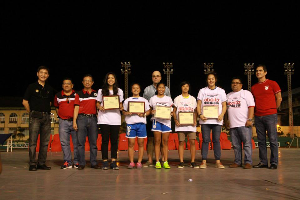 Members of the Philippine Under 14 girls team (starting 4th from left) Jan Reese Jumawan, Itsuko Bacatan, Arantxa Marie Trebol, Alexandrea Gumilao and Alexa Ceniza, are recognized for their contribution to the national team which placed second in an Asian Football Confederation regional tournament in Vietnam last year. With them are (L-R) Cebu City Sports Commission chairman Edward Hayco, CFA tournament director Glenn Quisido, CFA president Ricky Dakay and Aboitiz Foundation's trustee  Txabi Aboitiz, AVP for operation Danny Cerence and trustee Jaime Jose Aboitiz.  (Photo By Nimrod Quinones)