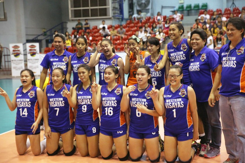 Members of Team Western Visayas, represented by St. John's Institute, flash the No. 1 sign after bagging the Shakey's GVL Season 12 League of Champions crown with a thrilling come-from-behind five-set win over National Capital Region's National U at the Ynares Sports Arena in Pasig last Sunday.