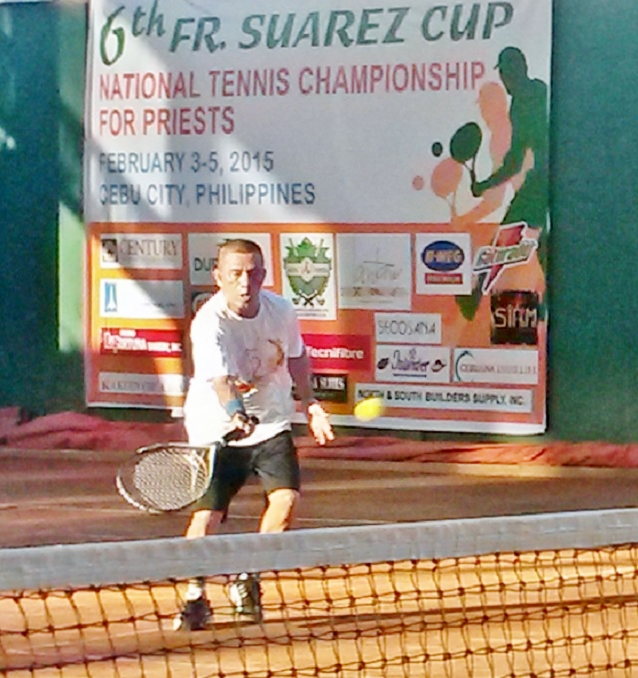 "Msgr. Jose ""Jojo"" Dosado of Cebu is the new 56 & Above title holder of the 6th Fr. Suarez Cup National Tennis Championship for Priests."