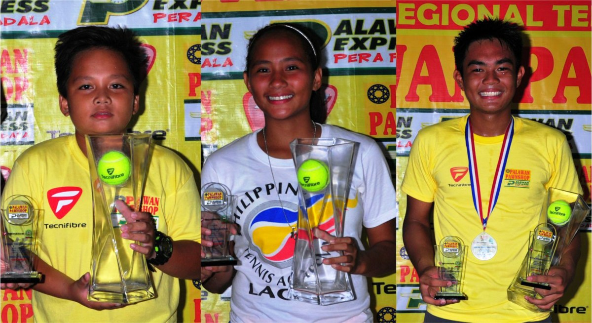 Ozamis City bet Nash Agustines (left), who topped the 10-unisex and boys' 12-Under classes, poses with fellow twin title winners Tracy Llamas (girls' 14- and 18-U) of La Carlota and Cebu's Jan Godfrey Seno (boys' 18- and 16-U) after sharing top honors in the Pawnshop-Palawan Express Pera Padala regional age group presented by Technifibre-Mactan leg in LapuLapu City, Cebu recently.