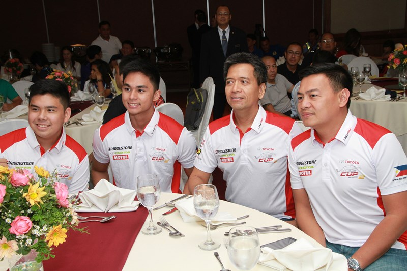 Toyota Cebu drivers at the press conference. They are  (from left) Jette Calderon, Sean Velasco, and Lord Seno.