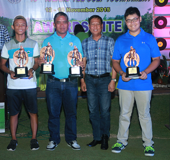 MGen Julius Guillermo poses with the overall winners of the 15th Island Tee.  They are (from left) overall lowest gross Russell Bautista, overall lowest net and team champion Pio Barandog, and overall team champion Scott Reyes.