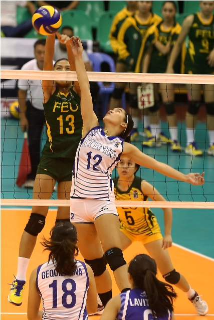 FEU's Celine Domingo (13) reaches out to foil Ateneo's Jia Morado during their Shakey's V-League semis clash.