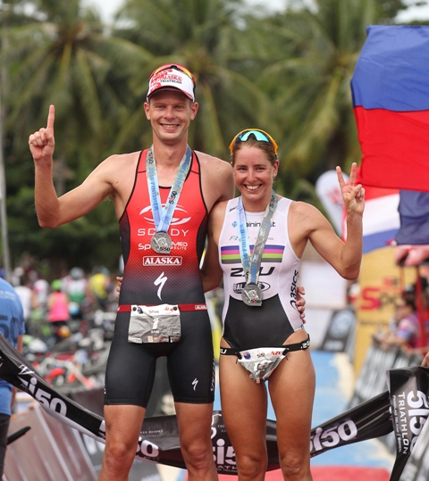 Sam Betten and Amelia Watkinson display their medals after ruling their respective sides in the Bellevue Resort 5i50 Triathlon in Bohol.