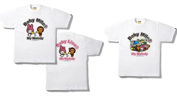 マイメロディなどのサンリオキャラクターがエイプ (A BATHING APE)コラボTシャツを発売!パティ&ジミー、リトルツインスターズも!