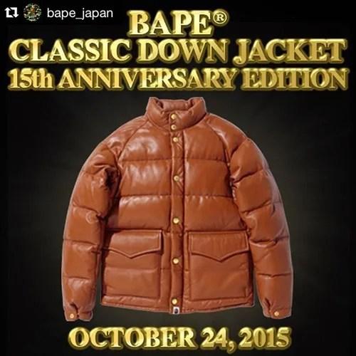 キムタク検事が着用していたBAPE CLASSIC DOWN JACKET 15th ANNIVERSARY EDITIONが2店舗30着限定で10/24から発売!(A BATHING APE エイプ)