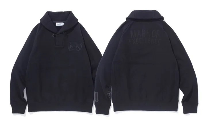 X-largeから「RAGLAN SLEEVE PULLOVER HOODED SWEAT」「MARK OF EXCELENCE SHAWL COLLAR SWEAT」が発売中!(エクストララージ)