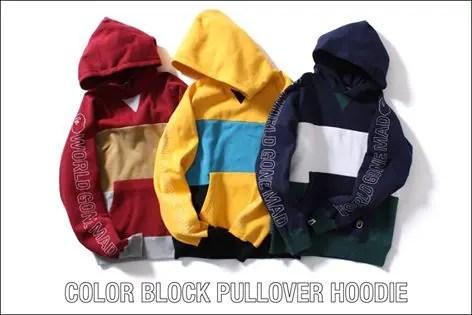 A BATHING APEから2016年最新カラーブロック柄で仕上げたプルオーバーフーディ「COLOR BLOCK PULLOVER HOODIE」が2/27発売!(エイプ)