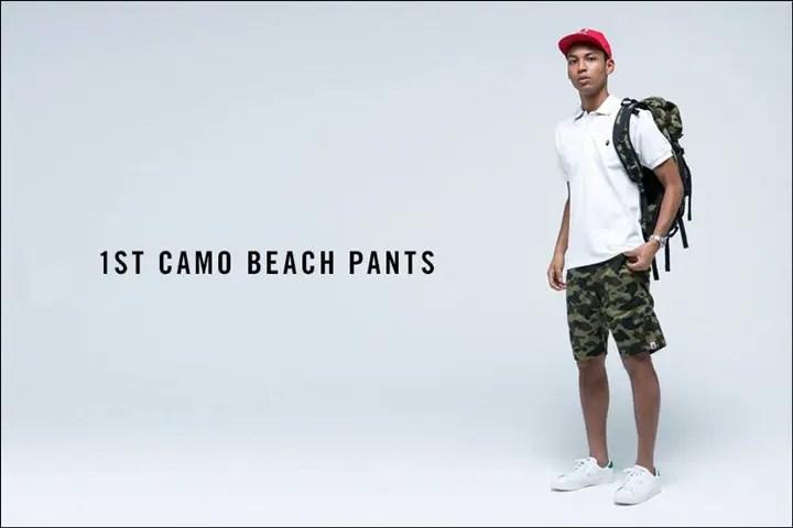A BATHING APEからプールやリゾートでのビーチパンツとしても活躍する1ST CAMOのビーチパンツ「1ST CAMO BEACH PANTS」が5/7から発売!(エイプ)