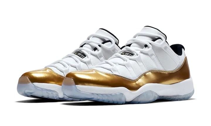 """【オフィシャルイメージ】8/27発売!ナイキ エア ジョーダン 11 ロー """"ホワイト/メタリックゴールド"""" (NIKE AIR JORDAN XI LOW """"White/Metallic Gold"""") [528896-103]"""