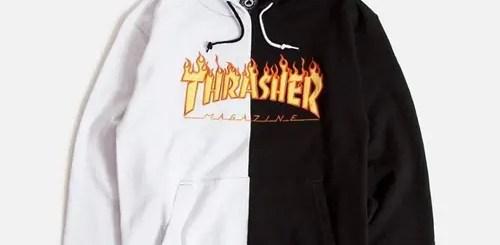 """THRASHER FLAME LOGO SPLIT HOODIE """"White/Black"""" (スラッシャー フィレイム スプリット フーディー """"ホワイト/ブラック"""")"""