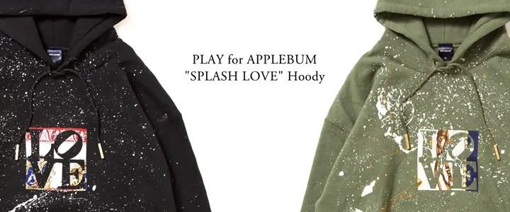 """貴重なヴィンテージシルクスカーフハンドメイド「LOVE」ロゴが貼り付いたPLAY for APPLEBUM """"SPLASH LOVE"""" Hoody (プレイ フォー アップルバム)"""
