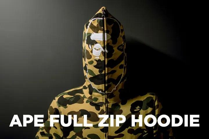 A BATHING APEからエイプヘッドをフード部分にあしらったフルジップフーディ「APE FULL ZIP HOODIE」が11/11発売 (ア ベイシング エイプ)