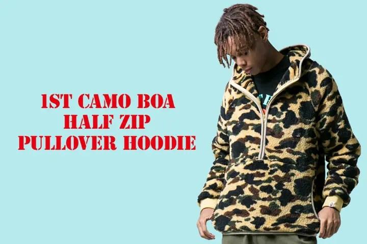 A BATHING APEから1ST CAMOとボア素材で仕上げたハーフジップ プルオーバーフーディ「1ST CAMO BOA HALF ZIP PULLOVER HOODIE」が11/25発売! (ア ベイシング エイプ)