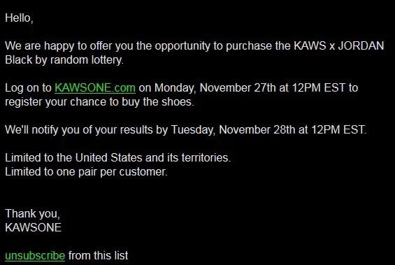 """【速報】KAWSONE.comにて11/27からKAWS × NIKE AIR JORDAN IV """"Black Suede"""" (カウズ ナイキ エア ジョーダン 4 """"ブラック スエード"""") [930155-001]の抽選がスタート!"""