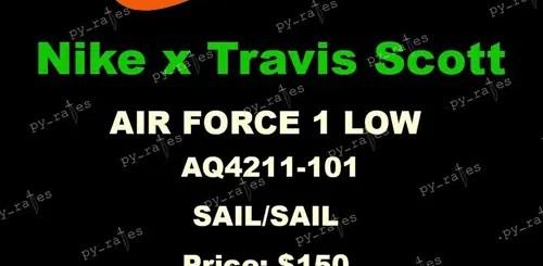"""2018年 春夏シーズンにリリース?セイルカラーのナイキ エア フォース 1 07 トラビス・スコット バイ トラビス・スコット (NIKE AIR FORCE 1 LOW TRAVIS SCOTT BY TRAVIS SCOTT """"Sail"""") [AQ4211-101]"""