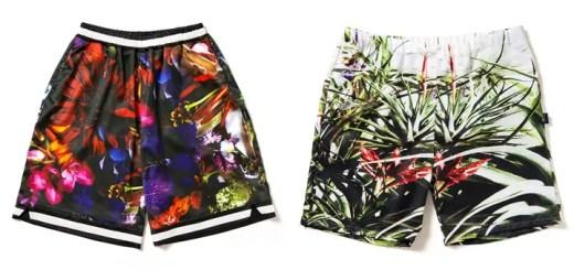 """モノクロのフラワーパターンを配したAPPLEBUM """"Flower Black Basketball Pants"""" """"Flower White Swim Pants""""が発売中 (アップルバム)"""