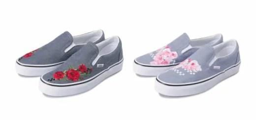 """チェッカーボード柄と薔薇や桜の刺繍をアッパーにデザインしたVANS CLASSIC SLIP-ON """"Rose/Sakura"""" (バンズ クラシック スリッポン)"""