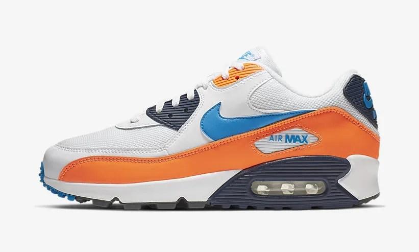 """【オフィシャルイメージ】ナイキ エア マックス 90 エッセンシャル """"ホワイト/ブルー/オレンジ"""" (NIKE AIR MAX 90 ESSENTIAL """"White/Blue/Orange"""") [AJ1285-104]"""