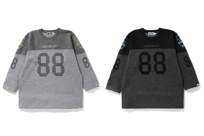 A BATHING APEからフットボールTシャツならではのデザインをニット地で表現した「RELAXED FOOTBALL KNIT」が11/2発売 (ア ベイシング エイプ)