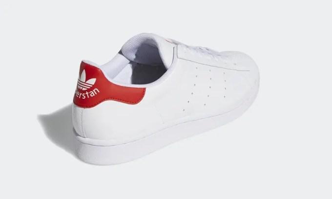 """2/28発売!アディダスの2大名作「スーパースター」+「スタンスミス」=「スーパースタン SUPERSTAN」ニューカラー「クラウドホワイト/スカーレット」 (adidas Originals SUPERSTAR STAN SMITH """"Cloud White/Scarlet"""") [FX3904]"""
