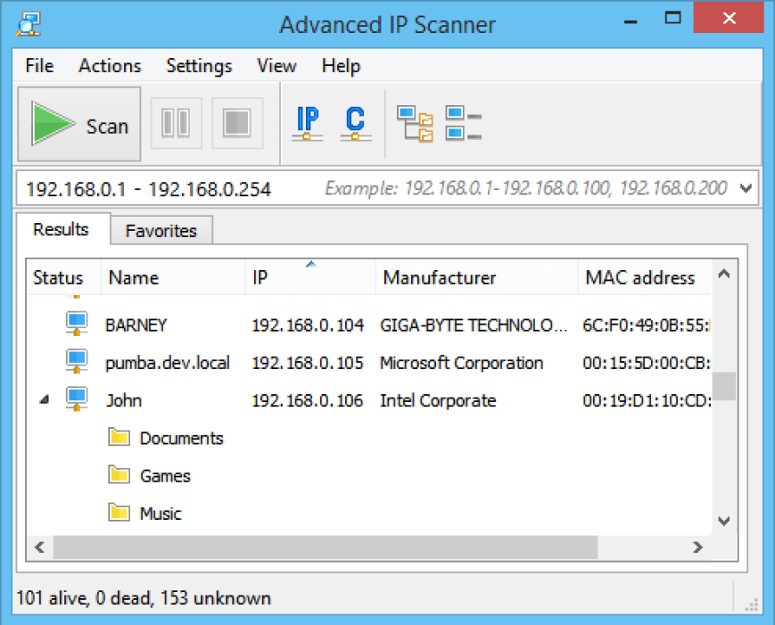 Advance IP Scanner windows