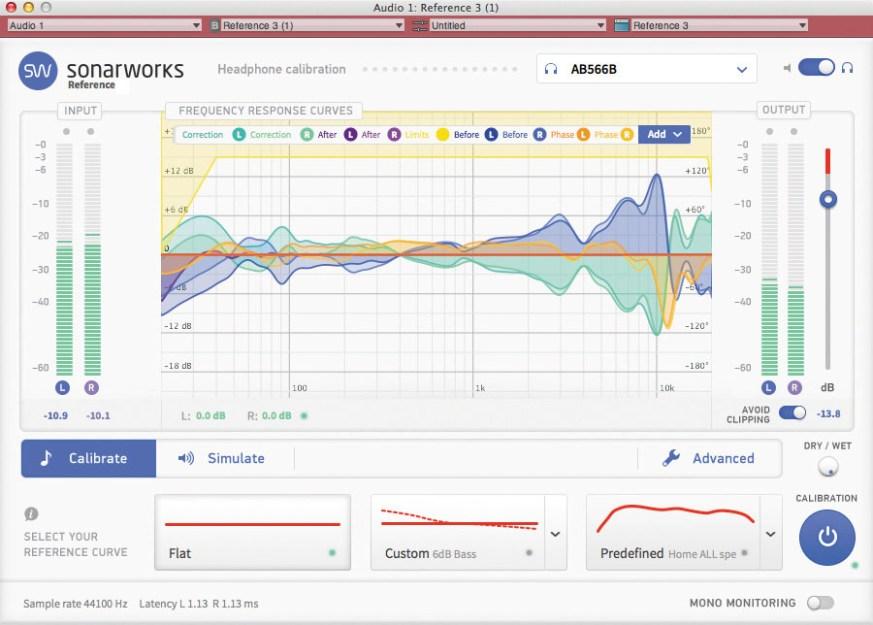 Sonarworks Reference windows