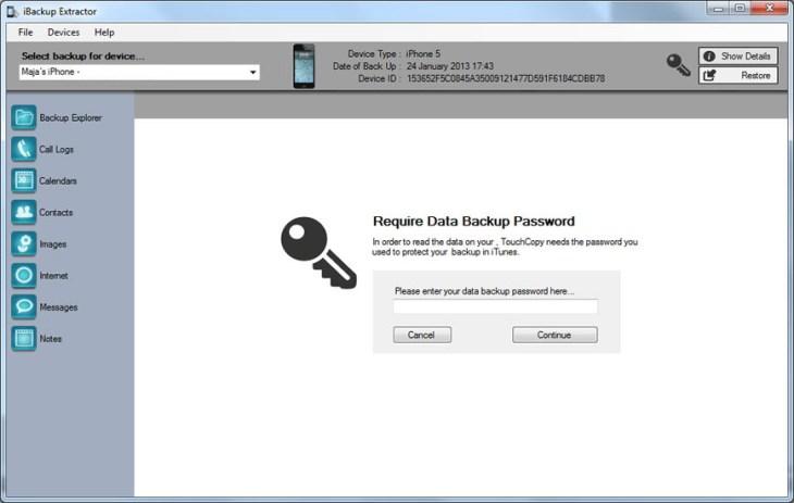 iBackup Viewer windows