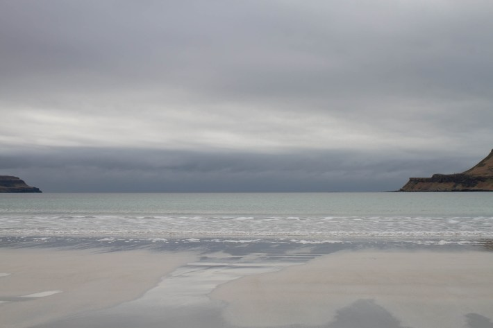 Calgary beach in Mull. Tide is out and the reflection on the wet sand