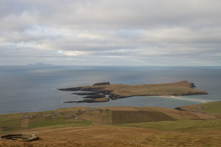 A photo of St Ninians, Tombolo, Shetland. A small island off the coast of Mainland Shetland. It has a small strip of sand running between Mainland and the island