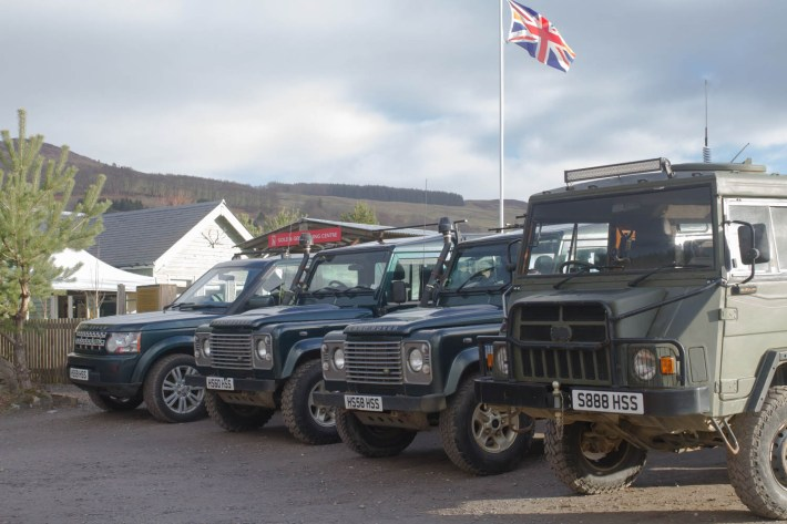 Highland Safaris, Perthshire. Land Rovers and other off road vehicles ready to go off up the mountains
