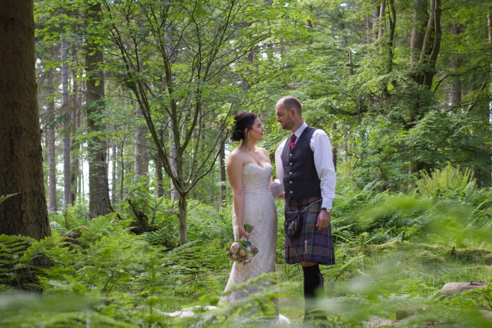 Wedding clients photo shoot in the woods