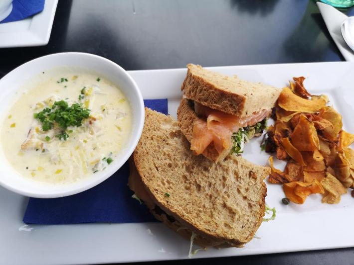 Taymouth Marina Restaurant. Cullen skink soup with a smoked salmon sandwich