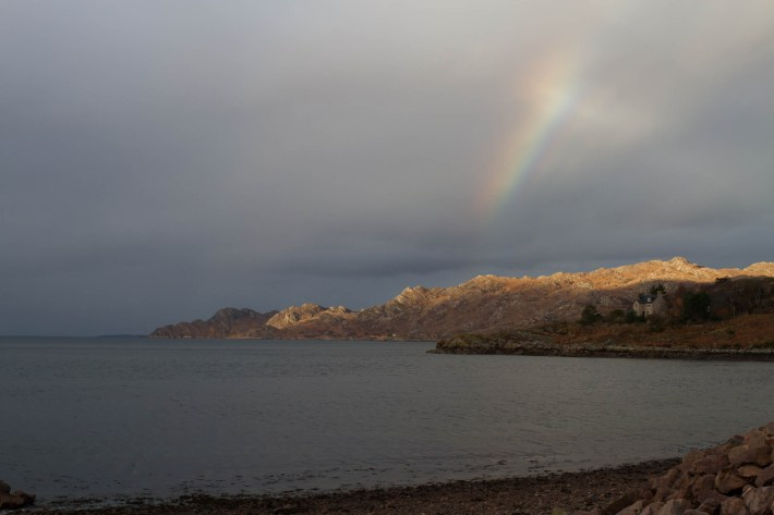 Rainbow on Shieldaig peninsula walk