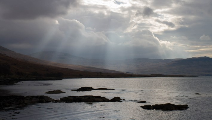 Moody clouds over Loch na Keal on the Isle of Mull, Scotland