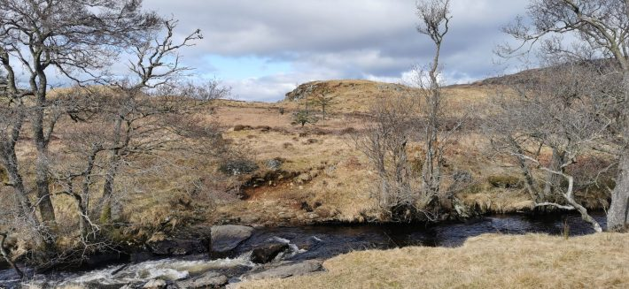 Image of: open hillside in late winter. A small stream running in the foreground and blue sky.