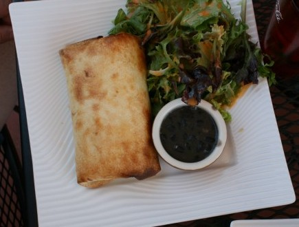 Mikes Chicken Burrito with salad and black beans: $16.00