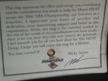 I really enjoyed reading the sentiment enclosed in the championship ring award.