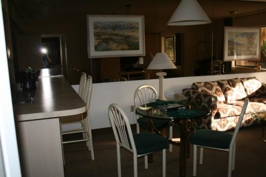 Living, dinning, breakfast bar area