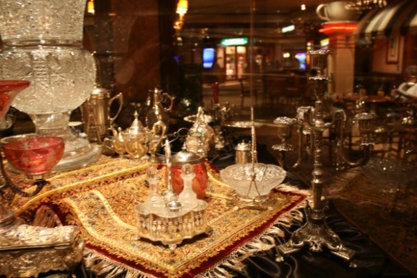 The crystal is from Europe, the Persian rugs are spectacular.  22k gold thread, precious stones, gems and jewels adorn the rugs.