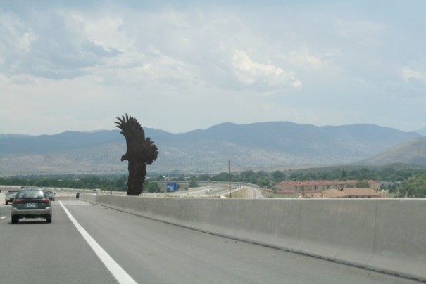 Coming into Carson City from Reno.  Nice metal Eagle art.