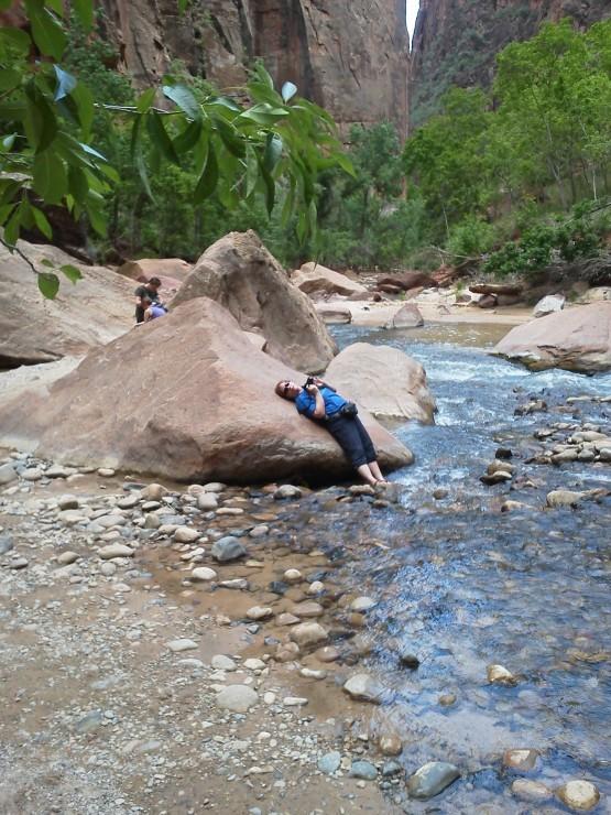 Edie, cooling her heels in the Virgin River, Zion National Park, Utah