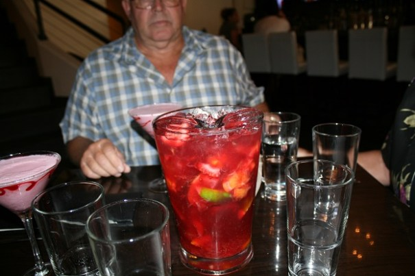 A picture of a pitcher of Sangria for Sharon and Edie.