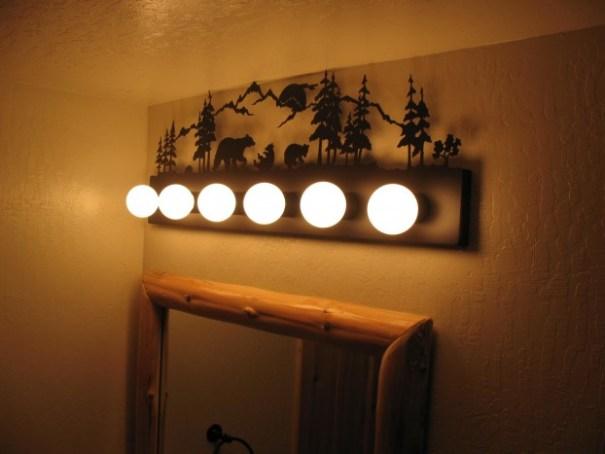 Cabin bathroom light fixture.