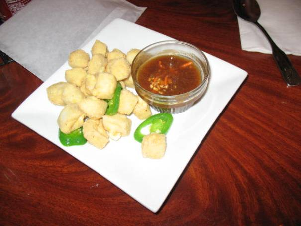 Fried Tofu with peanut dipping sauce.
